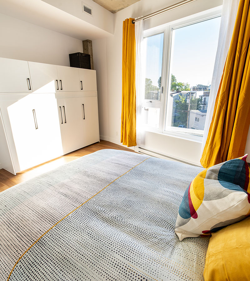 Chambre 2 lit Queen-Havres Urbains-Penthouse 401